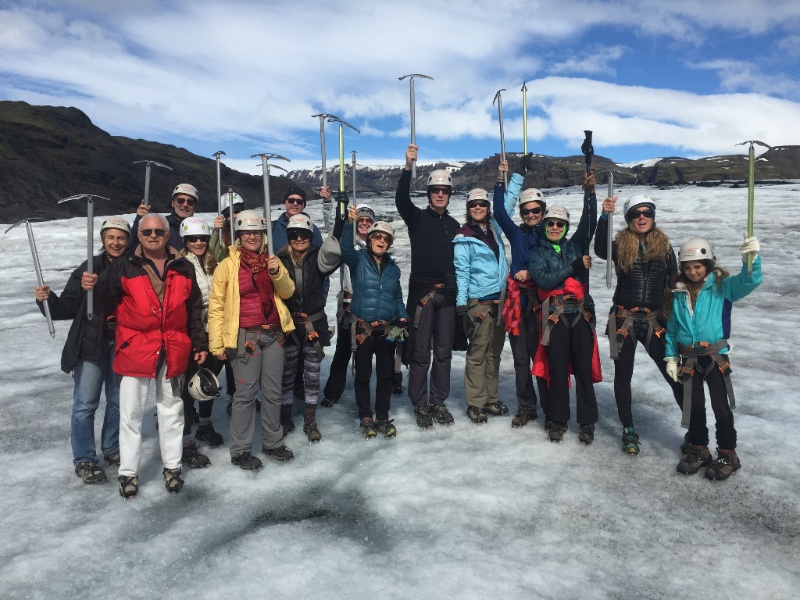 Fun on the glacier, hiking and yoga for the brave, 2015!
