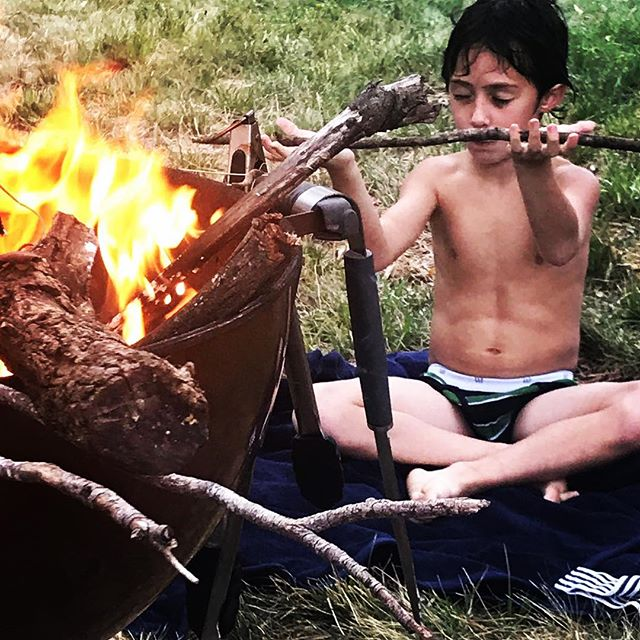 Had the pleasure to share Yoga with my youngest yoga student Martin the other day. He was intent on trying everything I was sharing with him, open, curious and willing. The day after our session he felt the need to meditate and sit by the fire in the midst of activities and did so. Yoga is 90% mindset over skillset... skills develop over time. It's the mindset and ability to act on what we receive from practice that make or break what comes out of it... #yogakids #yogaforkids #youngyogi #yogainspiration #yogaboy #yogi #yogafam #yogatime #yogaeveryday #consciousness #aum #namaste
