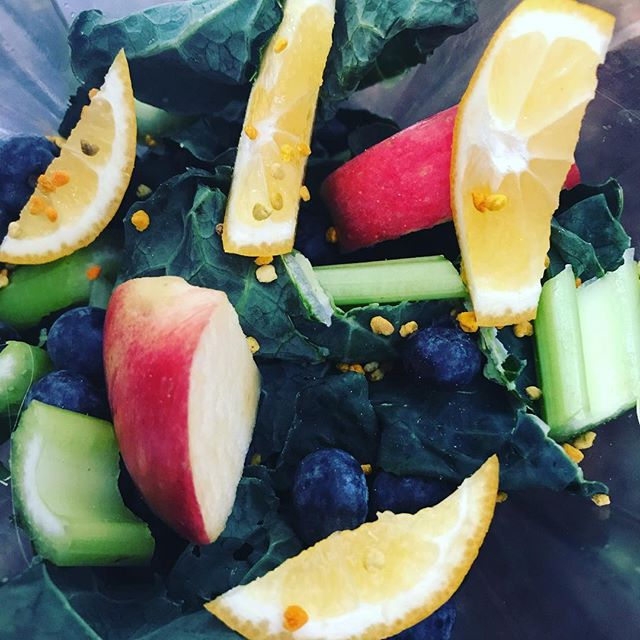 Healthy Saturday! We will see what it tastes like once blended. Going for the full Meyer lemon peel this morning, blending sweet and sour with blue berries, apples, bee pollen, celery and kale. Cheers!...#yogajourneyswithulrika #healthylife #greensmoothie #dailymotivation #yummy #inspiration #nourish #vitaminbombe #vitamins #fruits #greendrink #green #instayoga #namaste