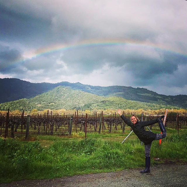 Great finish of a playful Yoga Day in a rainy Napa Valley. Rainbows and wine, rubber boots and dancers pose, oh my. I practice Yoga rain or shine, it does bring light and color out of the sky and out of my mind....#yogajourneyswithulrika #rainbow #napavalley #yogalife #yogafun #yogaeverywhere #yogalifestyle #yogalover #yogalove #yogagirl #yogainspiration #instayoga #yogisofinstagram #yogaoutside #yogaeverydamnday #yogadaily #yogafam #yogapractice #yogatime #yogamom #yogajourney #yogaretreat #yogafit #retreat #winelover #lovinglife #rubberboots #rain #rainydays